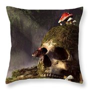 Mouse In A Skull Throw Pillow