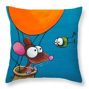 Mouse In His Hot Air Balloon Throw Pillow