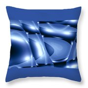 Moveonart Inverted Minimal Wave And Light In Blue Throw Pillow