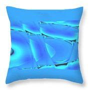 Moveonart Inverted Waves Bubble And Light In Aqua Throw Pillow