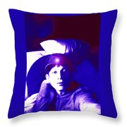 Moveonart Jacob In Blue Light Thinking Throw Pillow