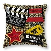 Movie Night-jp3613 Throw Pillow