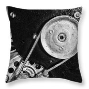 Movie Projector Gears In Black And White Throw Pillow
