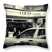Movie Theatre Paris In New York City Throw Pillow by Sabine Jacobs