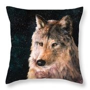 Moving Wolf Throw Pillow