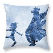 Mowgli And Baloo-blue Throw Pillow