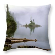 Mowich Lake In Fog  Throw Pillow