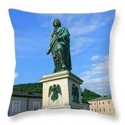 Mozart Statue In Mozartplatz, Salzburg, Austria Throw Pillow