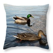 Mr And Mrs Duck On Parade Throw Pillow