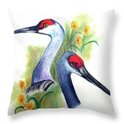Mr And Mrs Sandhill Cranes Throw Pillow