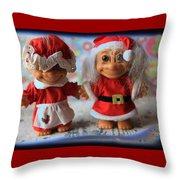 Mr And Mrs Santa Troll Throw Pillow
