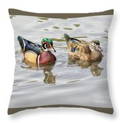 Mr. And Mrs. Wood Duck Throw Pillow