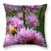 Mr Bee On My Chives Throw Pillow