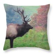 Mr Elk Enjoying The Autumn Throw Pillow
