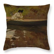 Mrs. Chase In Prospect Park , William Merritt Chase Throw Pillow