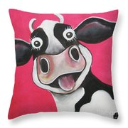 Mrs Cow Throw Pillow