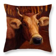 Mrs. O'leary's Cow Throw Pillow by James W Johnson