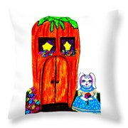 Ms. Bunny's Carrot House Throw Pillow