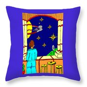 Ms Cleo On A Balcony In Paradise Throw Pillow
