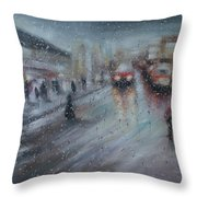 Christmas Rain Shopping Throw Pillow