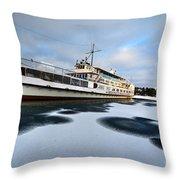 Ms Mount Washington At Winter Dock Throw Pillow
