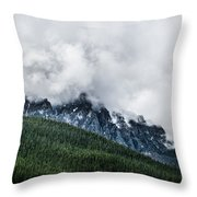 Mt Chephern Engulfed In Clouds Throw Pillow by Adnan Bhatti