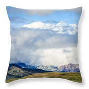 Mt Denali In The Clouds Throw Pillow