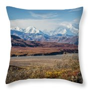 Mt Denali View From Eielson Visitor Center Throw Pillow