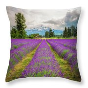 Mt. Hood And Lavender Throw Pillow