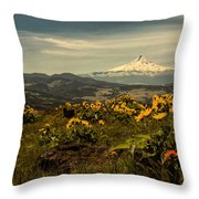 Mt. Hood And Wildflowers Throw Pillow