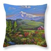 Mt Hood Fantasy Farm Throw Pillow