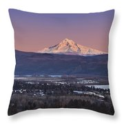 Mt. Hood From Camas Throw Pillow