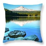 Mt. Hood In Trillium Lake Throw Pillow
