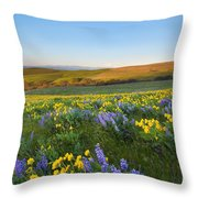 Mt. Hood Wildflower Morning Throw Pillow