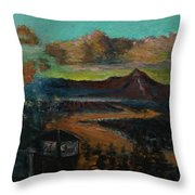 Mt Hood With Paper Mill Throw Pillow