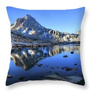 Mt Huxley Over Saphire Lake Morning - John Muir Trail Throw Pillow