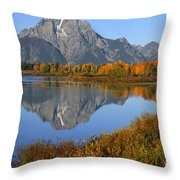 Mt. Moran Fall Reflection  Throw Pillow