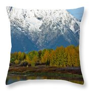 Mt Moran From Ox Bow Bend Throw Pillow