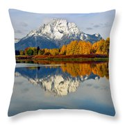Mt Moran From Ox Bow Bend On A Fall Morning Throw Pillow