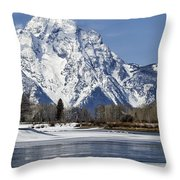 Mt Moran From Oxbow Bend Throw Pillow
