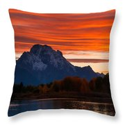 Mt. Moran Sunset Throw Pillow