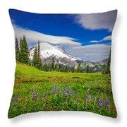 Mt Rainier And Wildflowers Throw Pillow