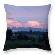 Mt Rainier Blush Throw Pillow