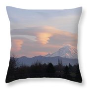 Mt Rainier Lenticular Funnels Throw Pillow