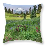 Mt Rainier Meadow Flowers Throw Pillow