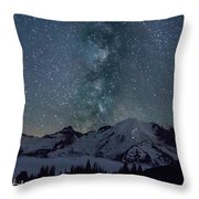 Mt Rainier Milkway Climbers Throw Pillow