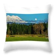 Mt Rainier Moonrise,wa Throw Pillow