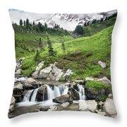 Mt Rainier Paradise Portrait Throw Pillow