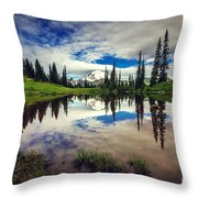 Mt Rainier Reflections Throw Pillow