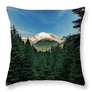Mt Rainier Through The Trees Throw Pillow